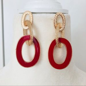 Gold and red enameled link earrings